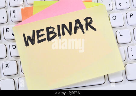 Webinar online workshop training internet learning teaching seminar education notepaper business concept computer keyboard - Stock Photo
