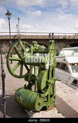 Ireland, Co Leitrim, Carrick-on-Shannon, old winding gear on River Shannon Quay - Stock Photo