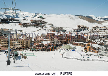 The ski base area of Crested Butte Mountain Resort in Colorado. - Stock Photo