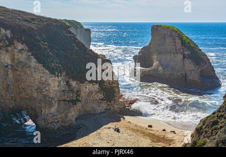 California, Santa Cruz County, vicinity Davenport, Shark Fin Cove aka Shark Tooth Beach - Stock Photo