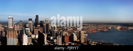 Seattle Skyline Panoramic View in Summer - Stock Photo