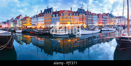 Panorama of Nyhavn in Copenhagen, Denmark. - Stock Photo