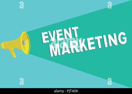 Writing note showing Event Marketing. Business photo showcasing describes process of developing display to promote product. - Stock Photo