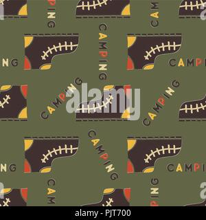 Camping boot seamless pattern. Mixed flat with disstressed style. Simple hiking equipment design. Stock vector wallpaper background isolated on green. - Stock Photo