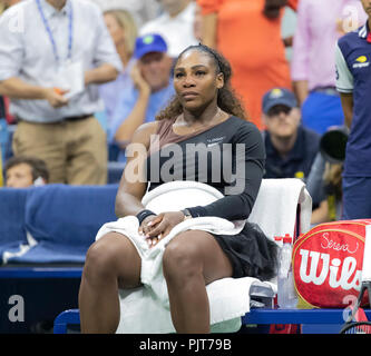 New York, United States. 08th Sep, 2018. Serena Williams of USA reacts after loosing women's single final to Naomi Osaka of Japan at USTA Billie Jean King National Tennis Center Credit: Lev Radin/Pacific Press/Alamy Live News - Stock Photo