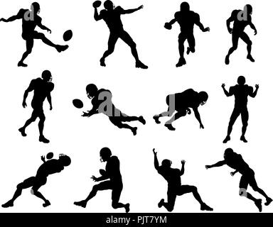 American Football Player Silhouettes - Stock Photo