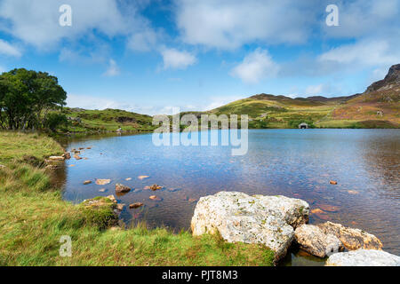 Summer at Cregennan Lakes in Snowdonia National Park in Wales - Stock Photo