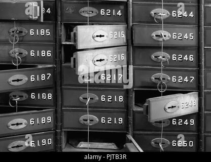 Lockers of a bank in the Technical Museum in Magdeburg - Stock Photo