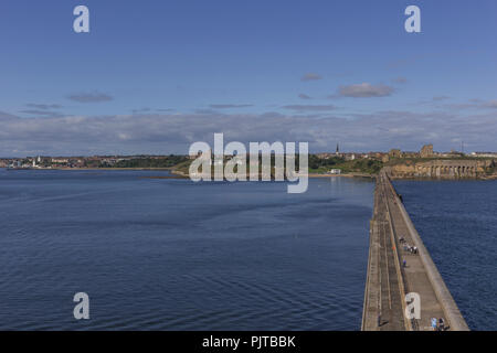 Looking towards Tynemouth from the top of the pier. - Stock Photo