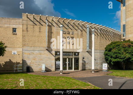 Exterior and main entrance to the North Lanarkshire Heritage Centre (1996) in Motherwell. - Stock Photo
