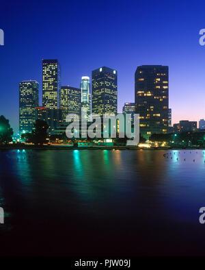 1990 HISTORICAL DOWNTOWN SKYLINE LOS ANGELES CALIFORNIA USA - Stock Photo