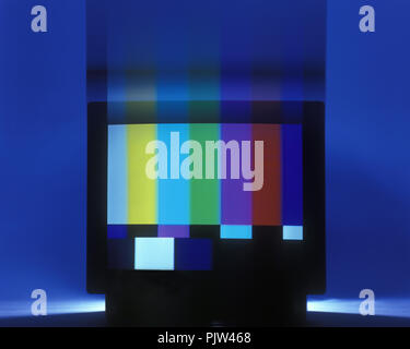 1992 HISTORICAL COLOR TEST CARD OLD FASHIONED 1980S TELEVISION - Stock Photo