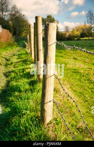 A barbed wire fence surrounding a livestock pasture - Stock Photo