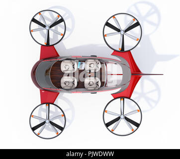 Cutaway view of Passenger Drone with interior layout on white background. 3D rendering image. - Stock Photo