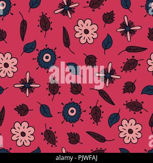 Flower hand-drawn seamless pattern with fantasy elements. - Stock Photo