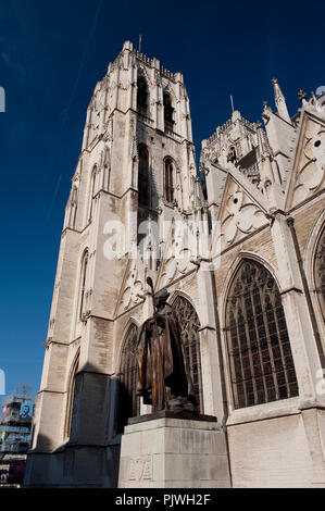 The Cathedral of St. Michael and St. Gudula and the statue of Cardinal Mercier in Brussels (Belgium, 22/10/2011) - Stock Photo