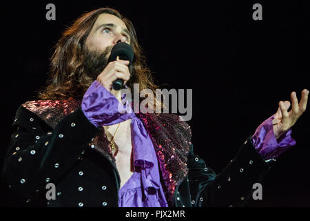 Milan Italy. 08 September 2018. The American rock band THIRTY SECONDS TO MARS performs live at Area Expo Experience during the 'Milano Rocks 2018' Credit: Rodolfo Sassano/Alamy Live News - Stock Photo