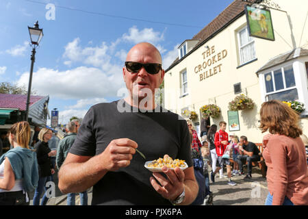Essex, UK. 9th September 2018. The Regatta is organised by Lions Club of Leigh-on-Sea with help  from the local Sea Scouts. The event features a variety of live music, traditional food and drink. Penelope Barritt/Alamy Live News - Stock Photo