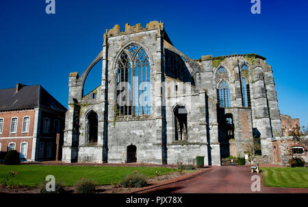 The ruin of the Cistercian Abbey of Aulne in Gozée, Leernes, founded in the 8th Century (Belgium, 24/10/2011) - Stock Photo