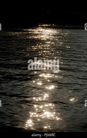 Impressions of the Meuse river in Huy at sunset (Belgium, 29/09/2011) - Stock Photo
