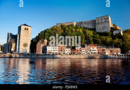 Panoramic view over the Walloon municipality Huy along the Meuse river (Belgium, 29/09/2011) - Stock Photo