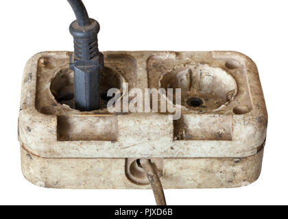 The old socket isolated on white background - Stock Photo