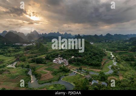 Wuzhi hill, Yangshuo, China - Stock Photo