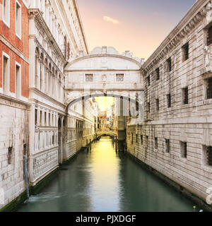Sunrise at Bridge of Sighs, Venice, Italy. - Stock Photo