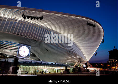 Final rehearsals of Franco Dragone's Gare A Vous spectacular show for the opening of the new Guillemins TGV railway station in Liège (Belgium, 17/09/2 - Stock Photo
