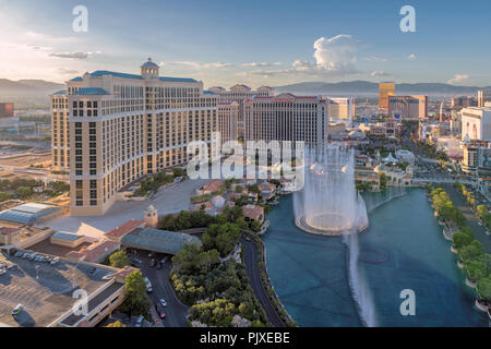 Aerial view of Las Vegas strip in Nevada at sunset, USA. - Stock Photo