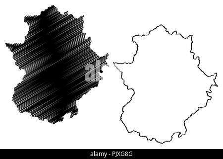 Extremadura (Kingdom of Spain, Autonomous community) map vector illustration, scribble sketch Extremadura map - Stock Photo