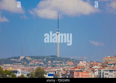 New Radio Tower at Istanbul Camlica Hill is Under Construction; Finishing - Stock Photo