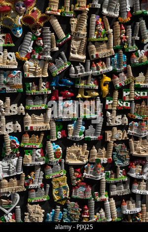 Tourist fridge magnets and souvenirs on sale in Piza,Tuscany Italy - Stock Photo