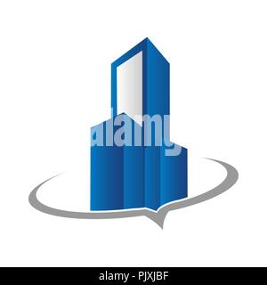 Real estate logo concept illustration,Building logo in classic graphic style, Citysearch logo, Abstract vector logo of buildings, Skyscrapers logo, Ve - Stock Photo