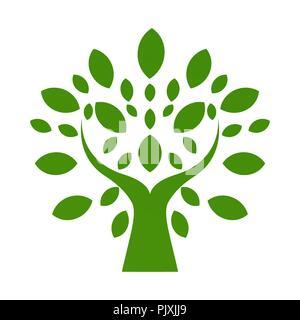 Organic logo. Leafs in hand logo. Natural products logo. Cosmetics icon. Spa logo. Beauty salon logo. Green leafs logo. Yoga logo - Stock Photo
