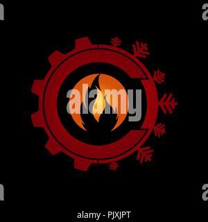 Abstract star energy logo. Hot cold icon, sea sun logotype. Technology creative sign. Tourist vector symbol - Stock Photo
