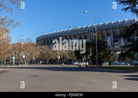 MADRID, SPAIN - JANUARY 21, 2018:  Outside view of Santiago Bernabeu Stadium in City of Madrid, Spain - Stock Photo