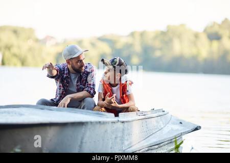 Talk in boat - Stock Photo