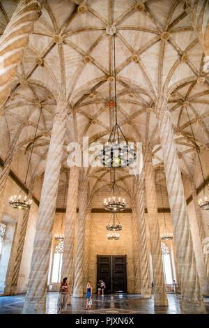 La Lonja de la Seda, a grand gothic medieval mercantile exchange hall in Valencia city centre, Spain - Stock Photo