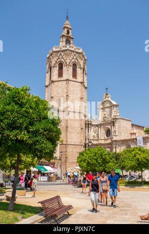 Octagonal Bell tower and Metropolitan Cathedral of Valencia seen from Plaça de la Reina, Valencian Community, Spain - Stock Photo