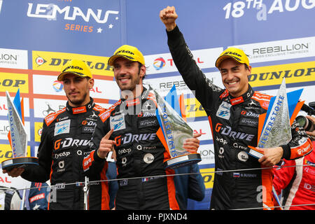 Andrea Pizzitola, Jean-Eric Vergne and Roman Rusinov celebrate after winning the European Le Mans Series 4 Hours of Silverstone - Stock Photo