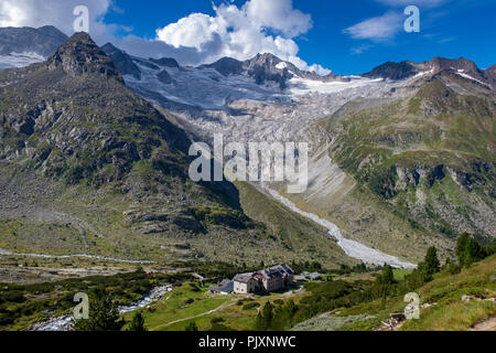 dresdner hütte in the alps on a sunny day - Stock Photo