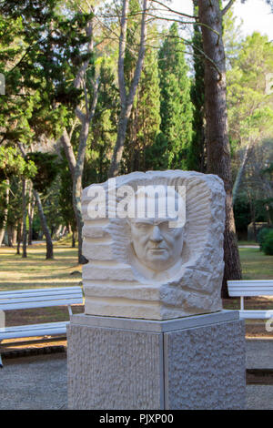 Monument of Josip Broz Tito in front of the gallery on the Brioni Island - Stock Photo