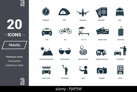 Travel icons set. Premium quality symbol collection. Honeymoon icon set simple elements. Ready to use in web design, apps, software, print - Stock Photo