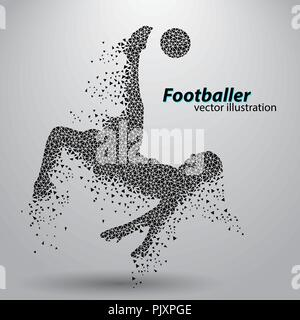 silhouette of a football player from triangles - Stock Photo