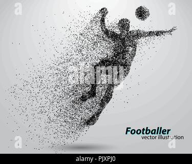 silhouette of a football player from particles - Stock Photo