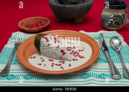 Chile en Nogada is a traditional mexican dish. Poblano pepper stuffed with ground meat, covered in walnut cream and pomgrenade seeds. - Stock Photo