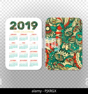 2019 pocket calendar basic grid vector horizontal orientation