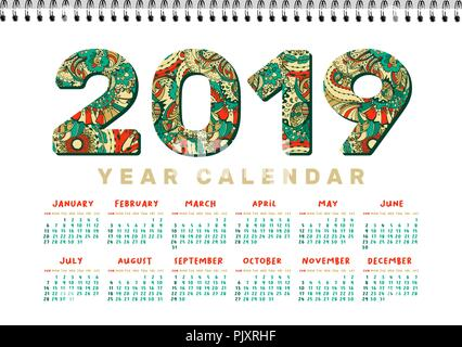 2019 Desk Calendar. Vector Horizontal a4 White Printable Template. Colorful Doodles Numbers. Patterned Fill. Contour Drawing, Line Art Trendy Style. Xmas or New Year Theme, Christmas Poster Design - Stock Photo