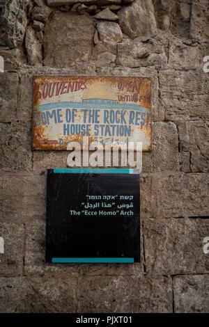 Ecce Homo Arch road sign in Jerusalem - Stock Photo